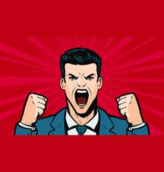 man screaming loudly cartoon in pop art retro vector image