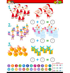 Maths addition task with christmas characters vector