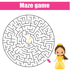 Maze game fairy princess theme kids activity vector