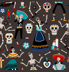 mexican day dead pattern vector image