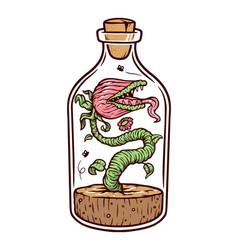 Monster plant in a bottle vector