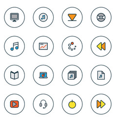 multimedia icons colored line set with loading vector image