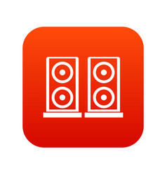 music speakers icon digital red vector image