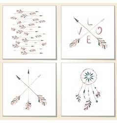 Native Indian-American arrows and dream catcher vector image