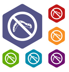 No caterpillar sign icons set vector