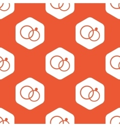 Orange hexagon wedding rings pattern vector image