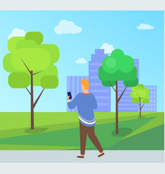 person walking in park with phone leisure vector image