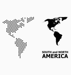 Pixel mosaic map south and north america vector
