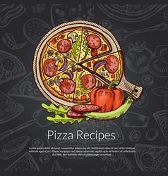 Pizza rozmarine pepper and pepperoni hand vector