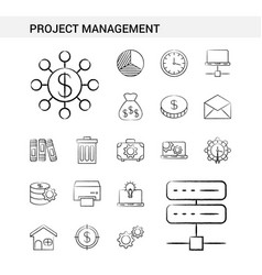 project management hand drawn icon set style vector image