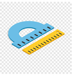 Protractor and ruler isometric icon vector