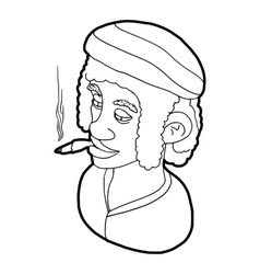 Rastafarian man wearing headband and smoking icon vector