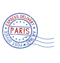 round blue and red postmark paris france vector image