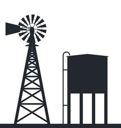 Rural windpump and water tank vector