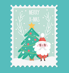 santa tree star balls snow branch merry christmas vector image