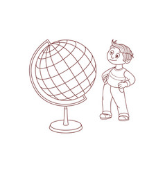 schoolboy with globe sphere map isolated on white vector image