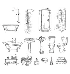 Set bathroom objects bathtub shover sink and vector