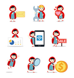 Set character woman red riding hood in fairytale vector