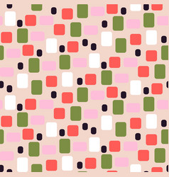 simple geometric shapes pink and green seamless vector image