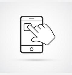 smartphone app flat line trendy black icon eps10 vector image