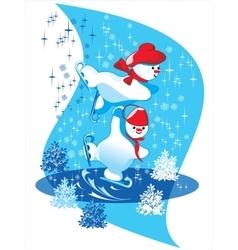 snowman skate vector image