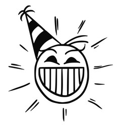 Stickman cartoon of happy smiling head with party vector