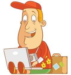 Tourist work anywhere laptop vector