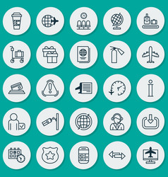 Travel icons set collection of world vector