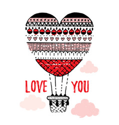 Valentine s day card design with heart quot love vector