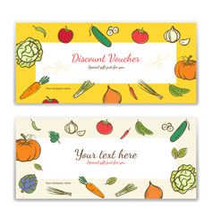 Vegetable theme gift certificate voucher gift vector