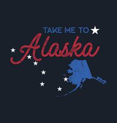 vintage alaska map badge retro style us state vector image