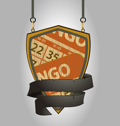wooden shield sign with bingo cards and rope vector image