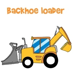 Yellow backhoe loader art vector image