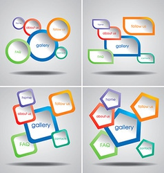 4 Colorful Web Menu Templates vector image vector image