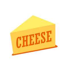 cheddar cheese piece isolated on vector image