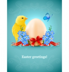 Easter card with egg chicken vector image vector image