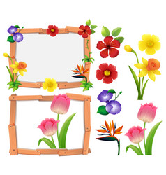 frame template with different types of flowers vector image vector image
