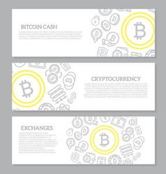 set of three digital money and bitcoin horizontal vector image vector image