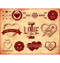 Set of vintage Valentines Day labels vector image vector image