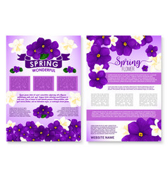 Spring flowers violas and orchid poster vector
