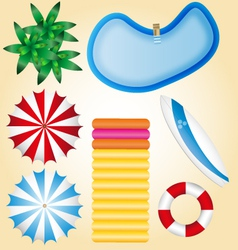 Summer holidays beach elements pool waterbed surf vector