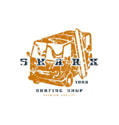 surfing shop emblem graphic design for t-shirt vector image vector image