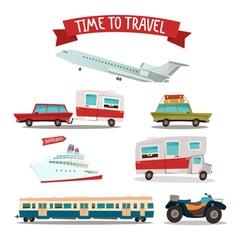 Travel Transportation Set Camper and Car Train vector image