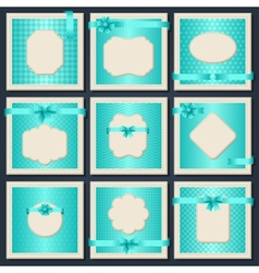 Vintage patterned cards with gift bows and ribbons vector image vector image