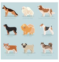 dog flat icons set vector image vector image