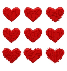 broken red heart vector image vector image