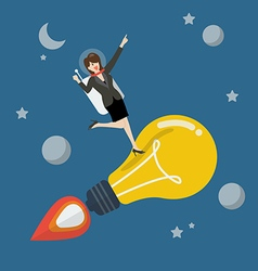Business woman astronaut on a moving lightbulb vector image
