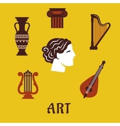 Classical flat art and musical instruments icons vector image