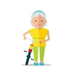 elderly women walk with bicycle vector image vector image