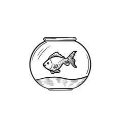 Fishbowl hand drawn sketch icon vector